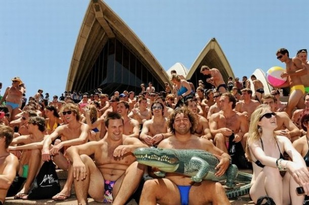 Residents of Sydney pose on the steps to