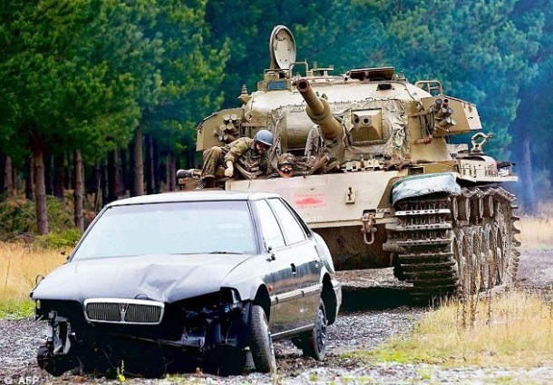 crush a car with a tank new zealand