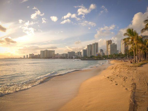 honolulu city from beach hawaii