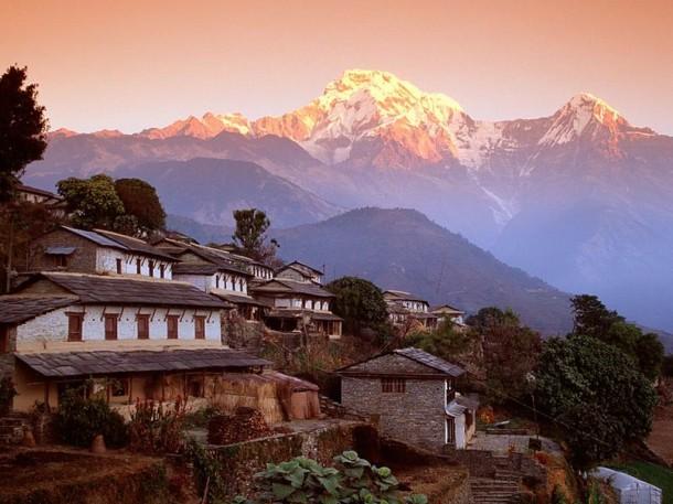 Ghandrung Village and Annapurna South, Nepal, Himalaya