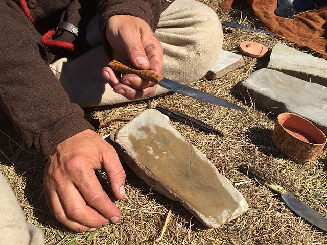 knife sharpening on a stone
